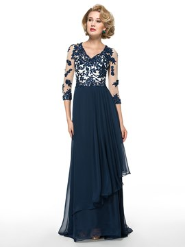 Ericdress elegante V Neck Applikationen 3/4-Länge Ärmel Line Mutter der Brautkleid