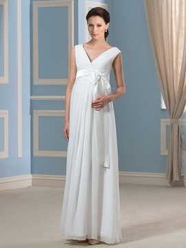 Ericdress Simple V Neck Chiffon Maternity Wedding Dress