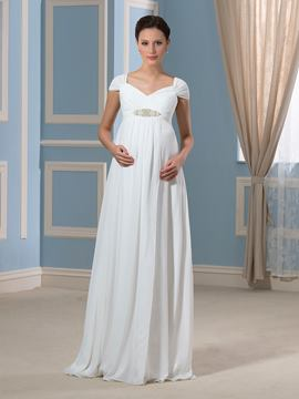 Ericdress Pretty V Neck Cap Sleeves Beadings Chiffon Maternity Dress