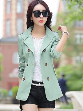 Double-breasted Trench-Coat court plaine Classic Ericdress
