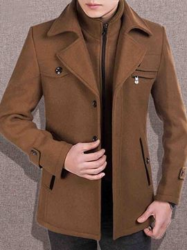 Ericdress Solid Color Double-Layer Detachable Collar Men's Wool Coat
