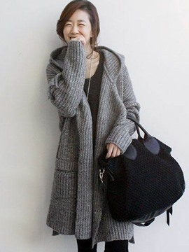 Ericdress Loose Thick Hooded Mid-Length Knitwear