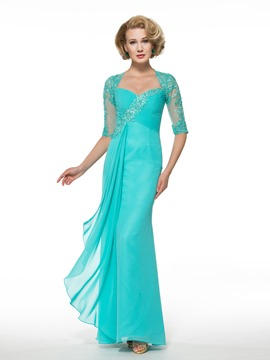 Ericdress Half Sleeves Beading Appliuqes Mother of the Bride Dress