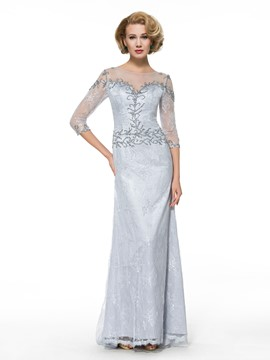Ericdress Sheath Lace 3/4 Length Sleeves Long Mother of the Bride Dress
