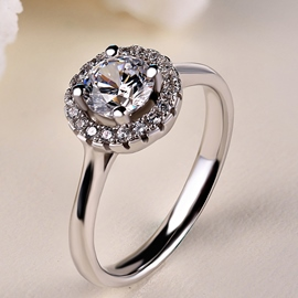 High Quality 1ct Zircon-studded Silver Ring