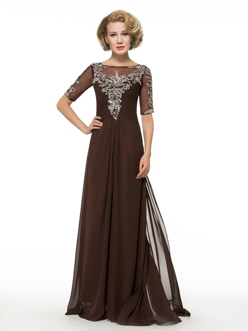 Ericdress A Line Half Sleeves Long Mother of the Bride Dress