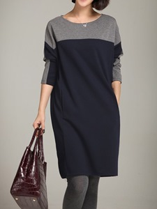Ericdress Color Block Pocket Round Neck Casual Dress