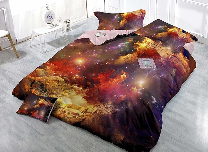 Shining Stars Castle Digital Printing 4-Piece Duvet Cover Sets