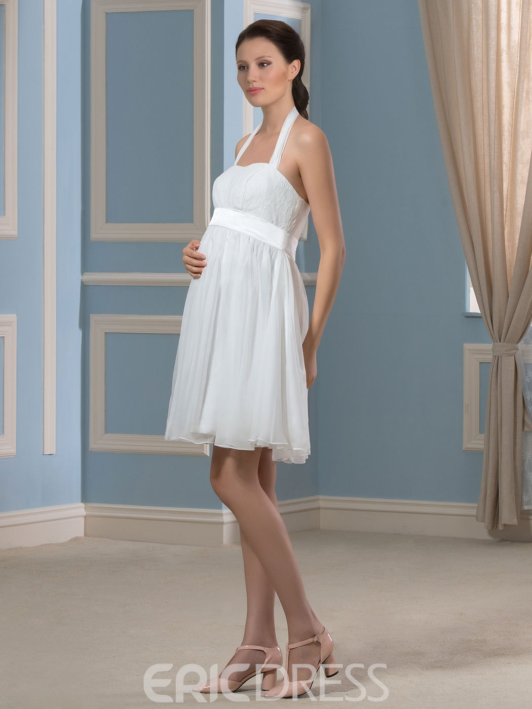 Ericdress Pretty Halter Short Chiffon Maternity Wedding Dress