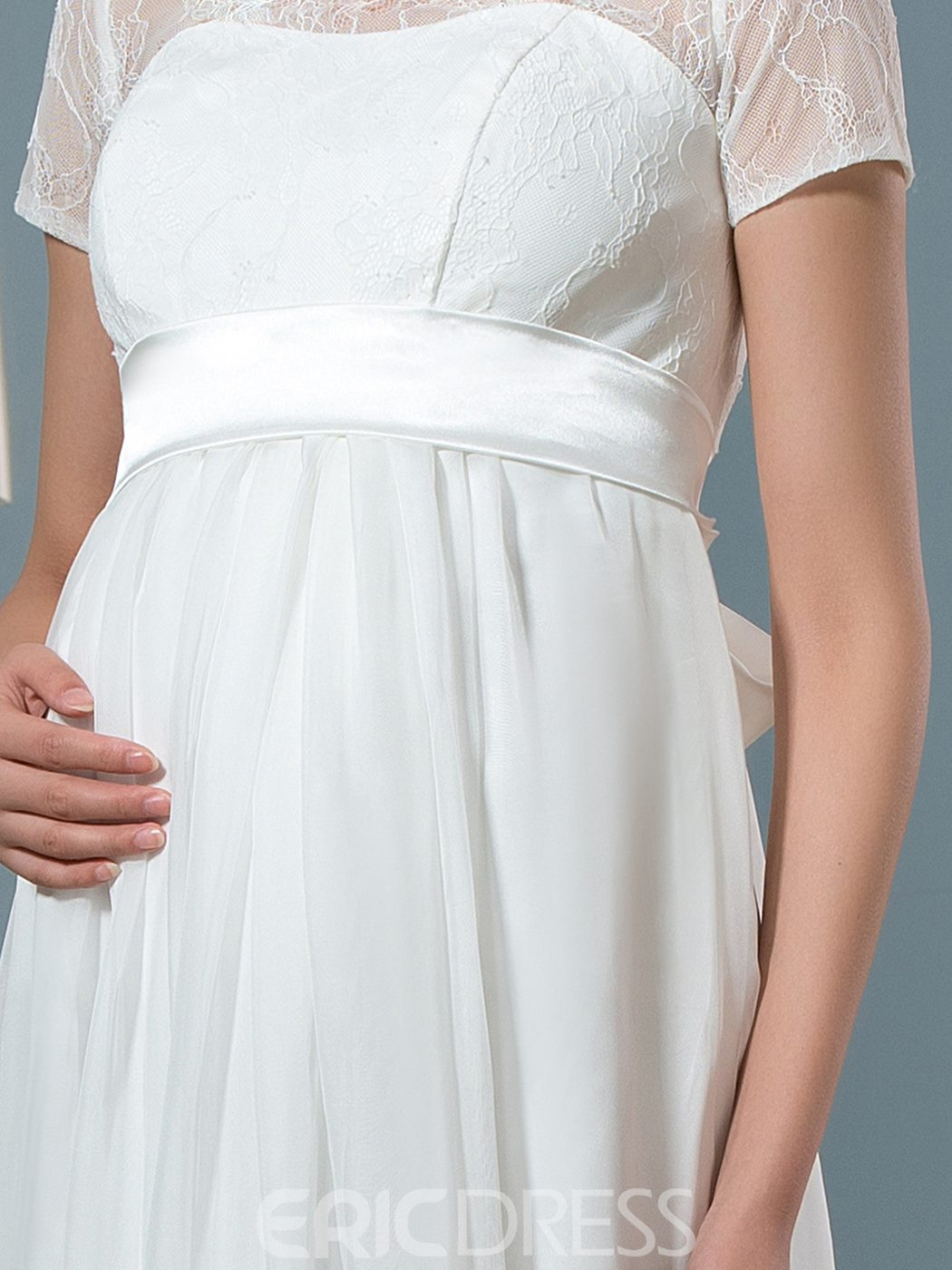 Ericdress Elegant Jewel Short Sleeves Lace Maternity Wedding Dress