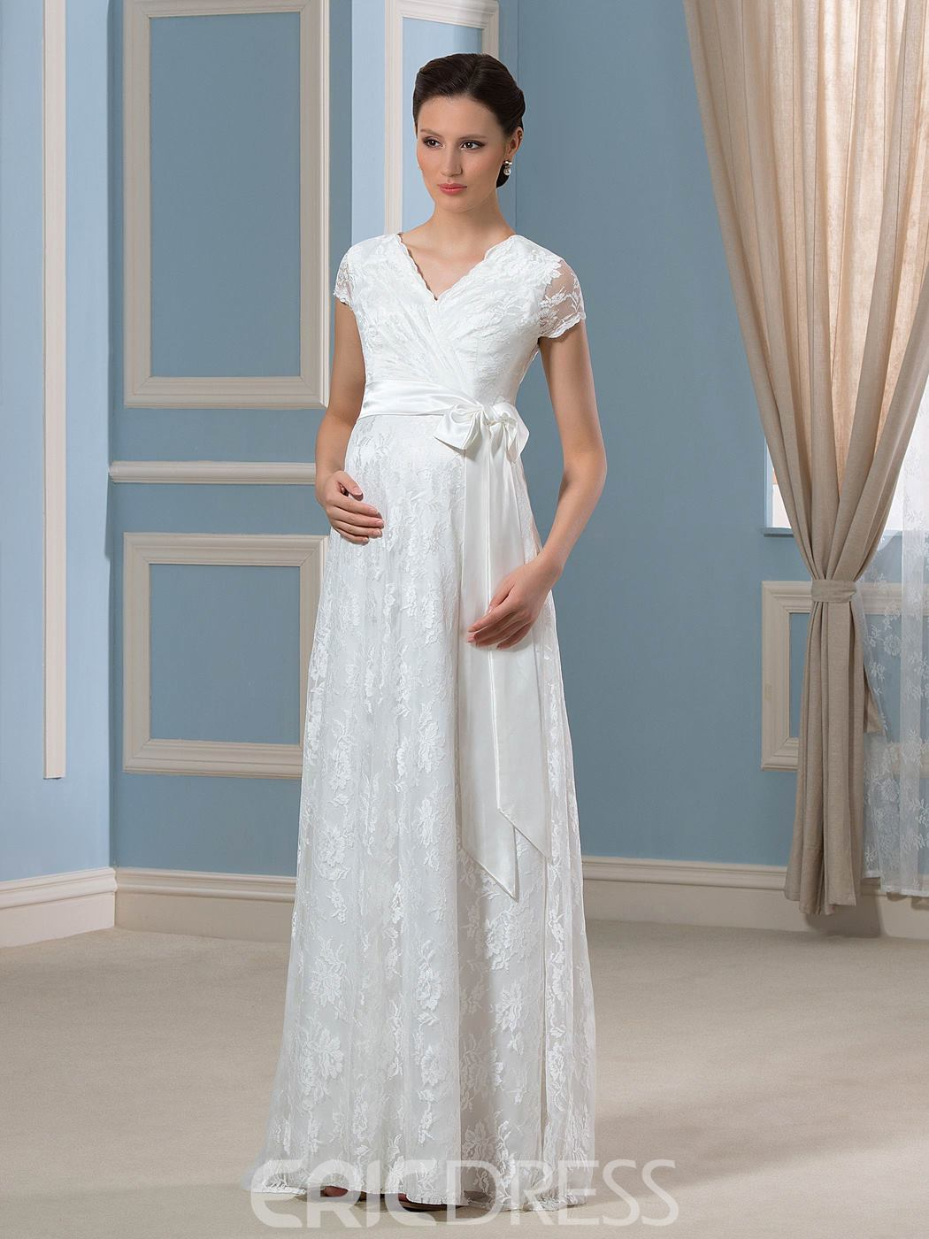 Ericdress Casual Short Sleeves Lace Maternity Wedding Dress 11505775 ...