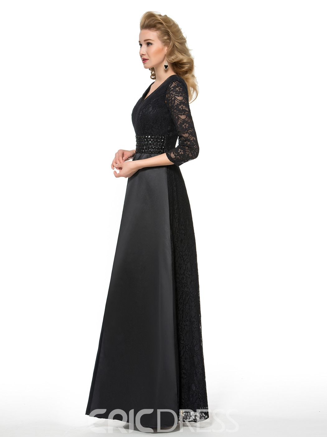 Ericdress Long A Line V Neck 3/4 Length Sleeves Mother of the Bride Dress