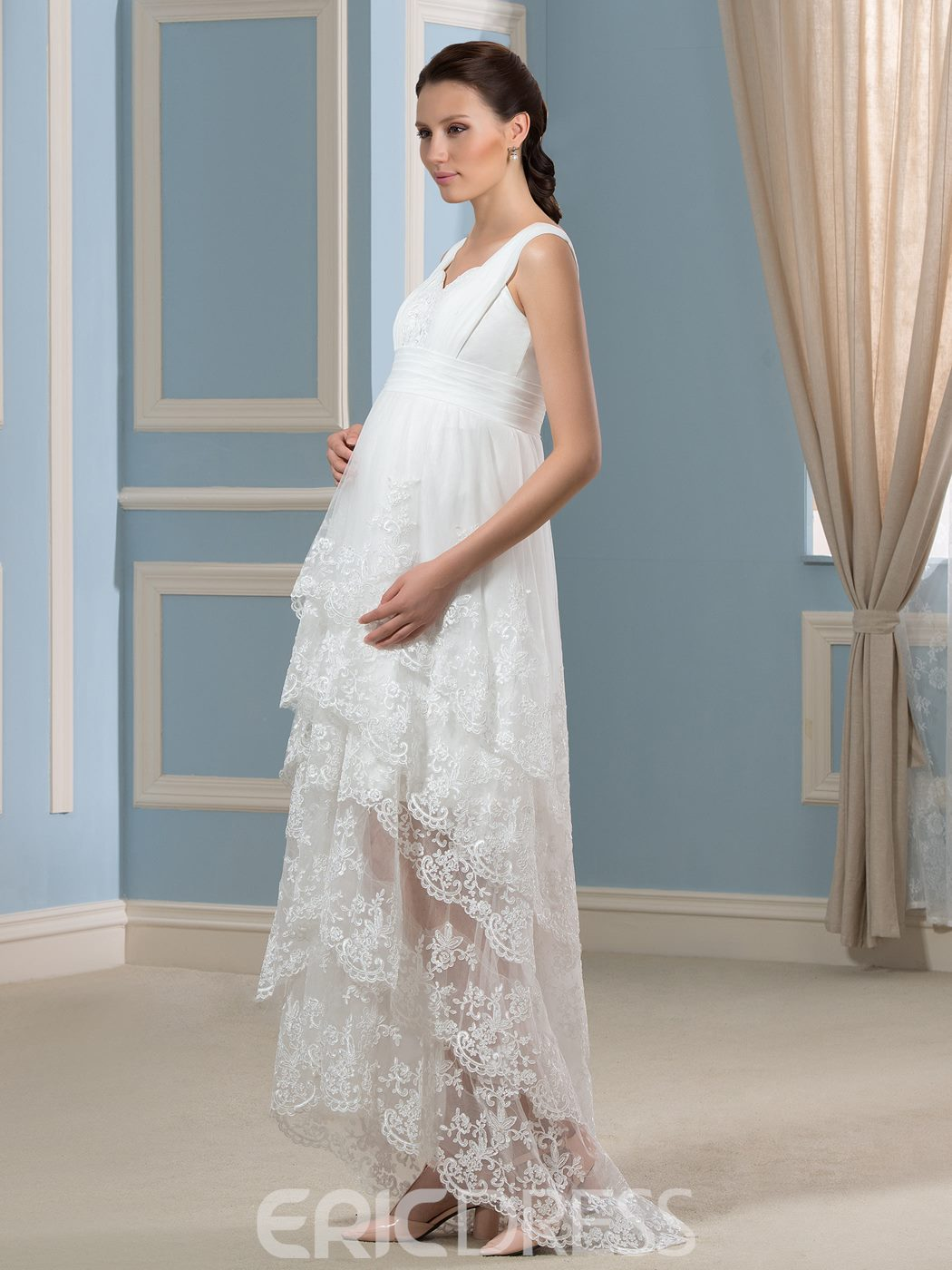 Ericdress Amazing Straps Appliques Asymmetry Maternity Wedding Dress