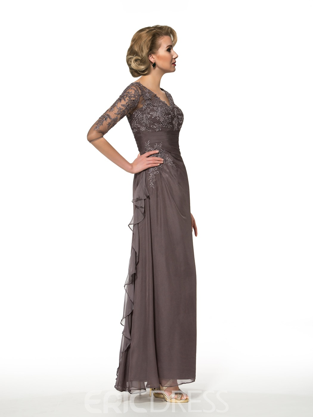 Ericdress V Neck Appliques Half Sleeves Mother of the Bride Dress