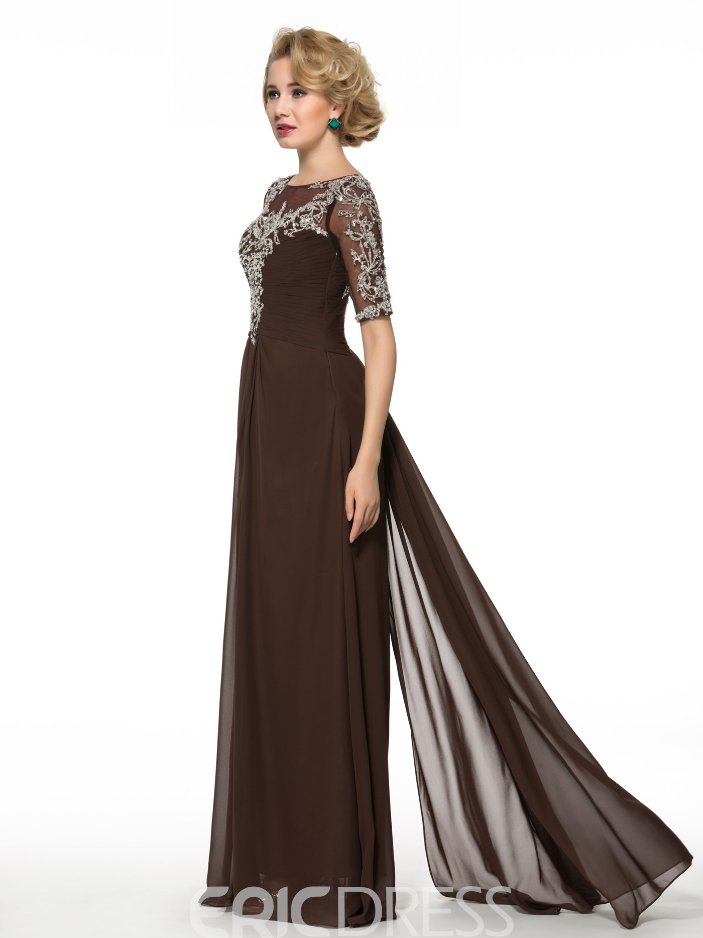 Ericdress Gorgeous Bateau A Line Half Sleeves Long Mother of the Bride Dress