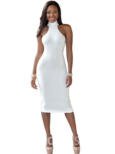 Ericdress Halter Backless Mid-Calf Plain Sheath Dress
