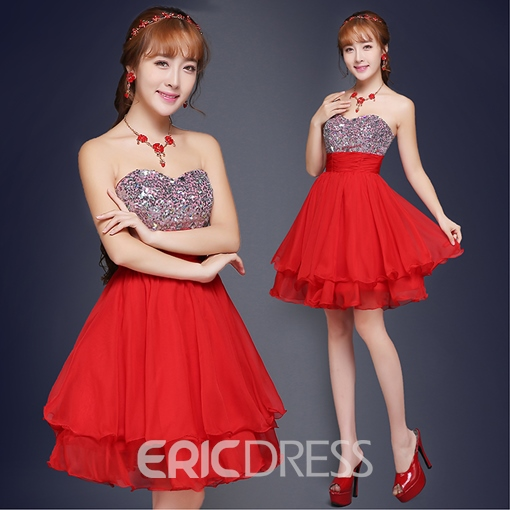 Ericdress A-Line Strapless Sequins Mini Homecoming Dress
