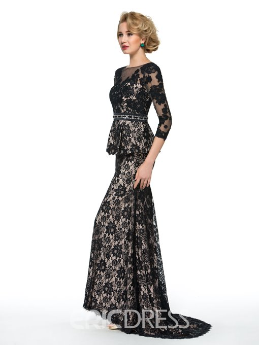 Ericdress Elegant 3/4 Length Sleeves Mermaid Lace Mother of the Bride Dress