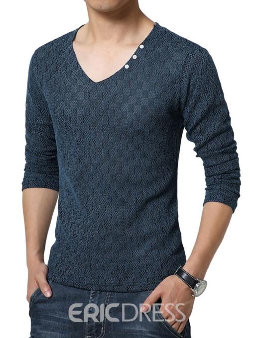 Ericdress Solid Color V-Neck Pullover Men's Sweater
