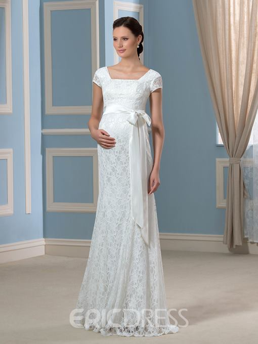 Ericdress Short Sleeves Sheath Lace Maternity Wedding Dress