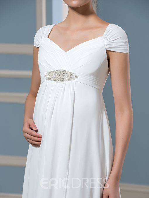 Ericdress Cap Sleeves Beading Chiffon Maternity Wedding Dress