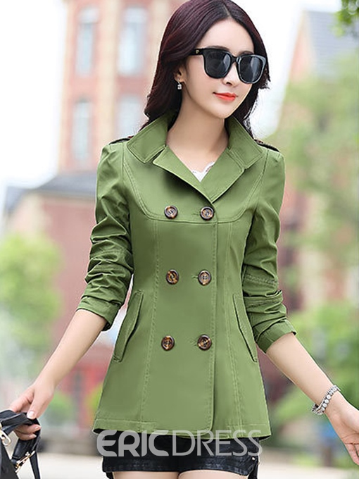 Ericdress Classic Plain Double-Breasted Trench Coat