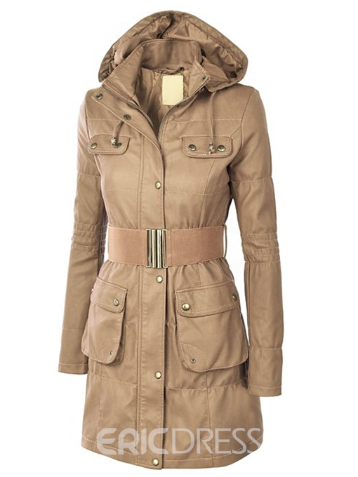 Slim Long Style Solid Color Trench Coat