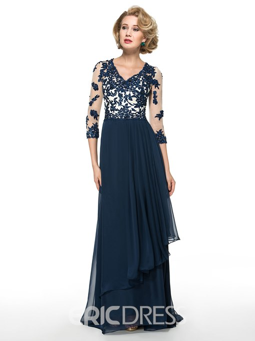 Ericdress Elegant V Neck Appliques 3/4 Length Sleeves A Line Mother of the Bride Dress