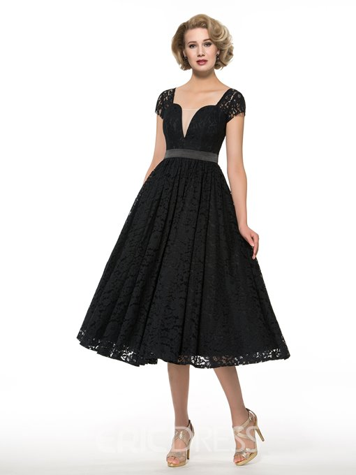 Ericdress Short Sleeves Tea Length Square Mother of the Bride Dress