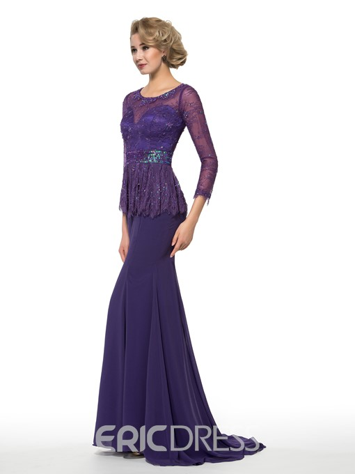 Ericdress Elegant Jewel 3/4 Length Sleeves Lace Mother of the Bride Dress