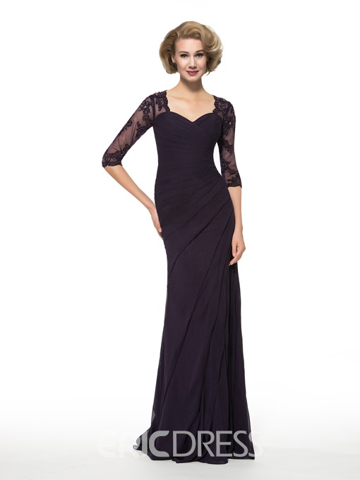 Ericdress Elegant Half Sleeves Sheath Column Mother of the Bride Dress