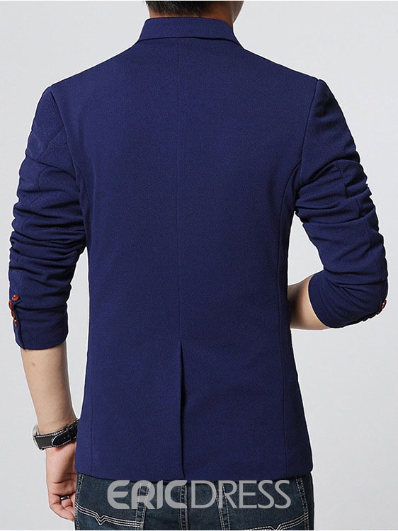 Ericdress Solid Color One Button Simple Men's Coat