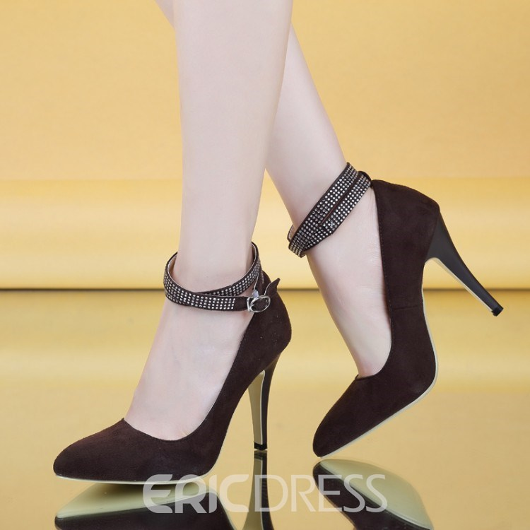 Ericdress Pointed-toe Ankle Strap Pumps