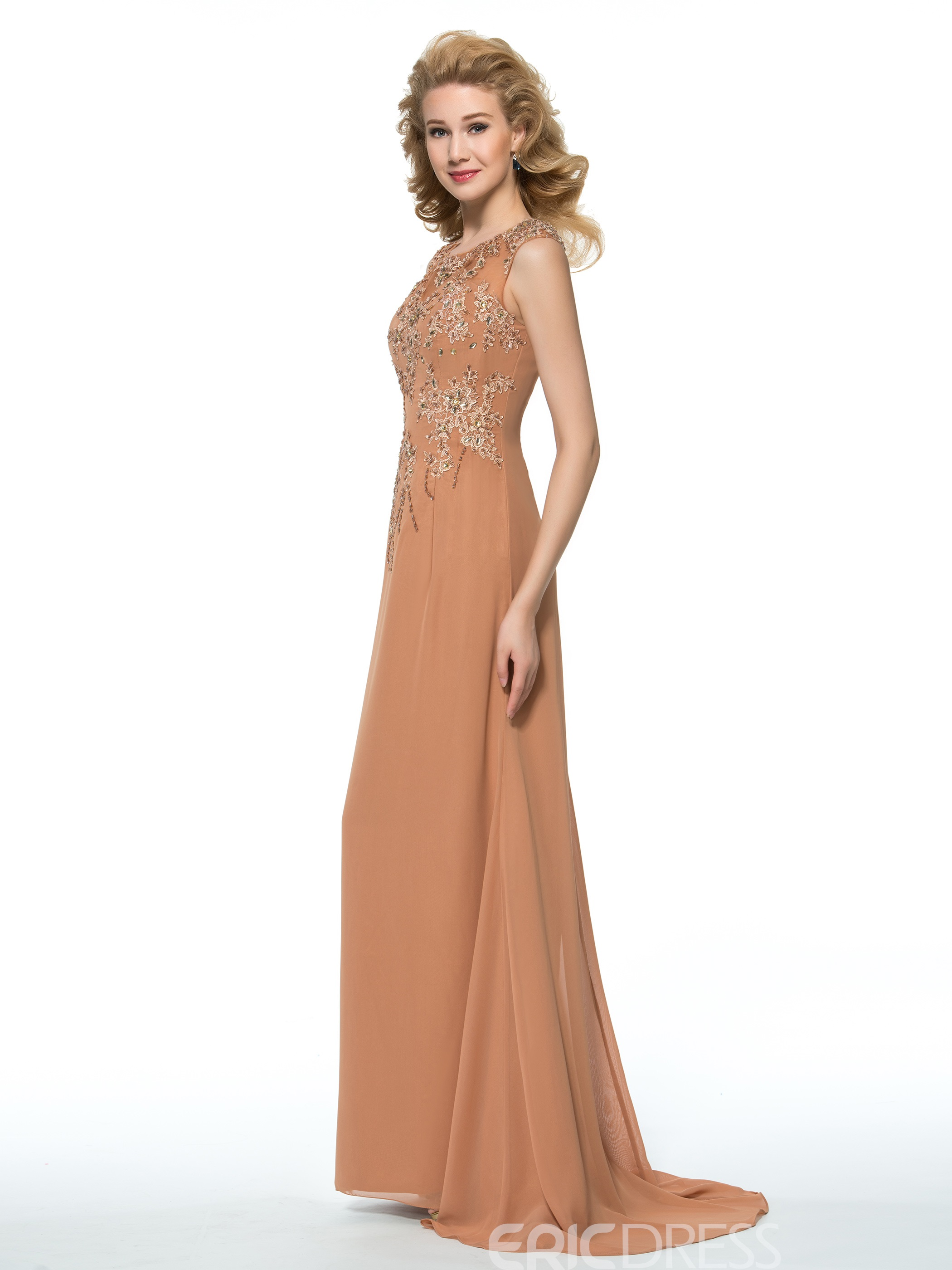 Ericdress Beautiful Jewel Appliques A Line Long Chiffon Mother of the Bride Dress