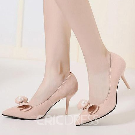 Ericdress OL Suede Pointed-toe Pumps with Bowtie