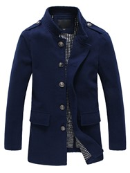 Ericdress Solid Color Long Stand Collar Mens Trench Coat