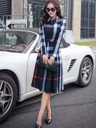 Ericdress Plaid Belt Lapel Single-Breasted Casual Dress фото