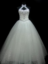 Ericdress Halter Sequins Beaded Ball Gown Wedding Dress фото