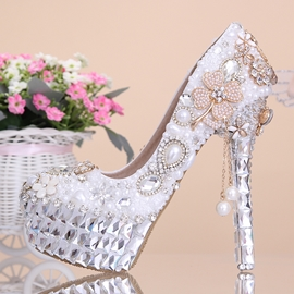 Ericdress Brilliant Pearls Flowers Stiletto Heels Wedding Shoes