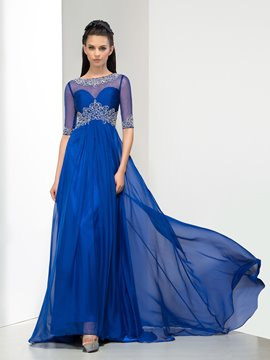 Ericdress Luxurious Bateau Crystal Beading Evening Dress