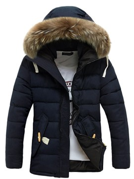 Ericdress Zipper Faux Fur Collar Thicken Warm Men's Coat