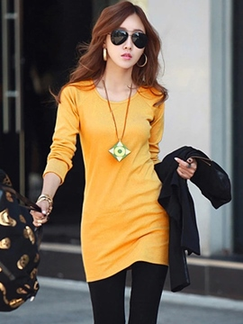Ericdress Plain Fleece Mid-Length T-shirt