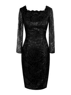 Ericdress Elegant Square Long Sleeves Lace Mother of the Bride Dress