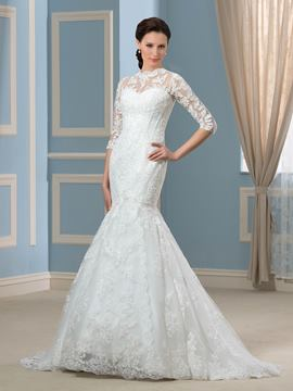 Ericdress Amazing Jewel Mermaid Wedding Dress with Sleeves