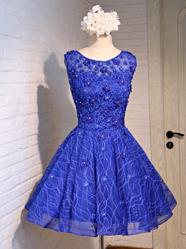 Ericdress Round Neck Appliques Beading Short Homecoming Dress