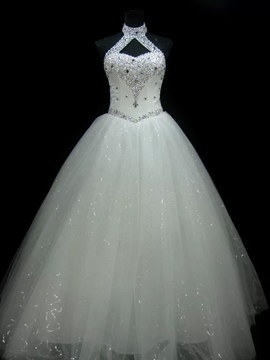 Ericdress Halter Beaded Ball Gown Wedding Dress