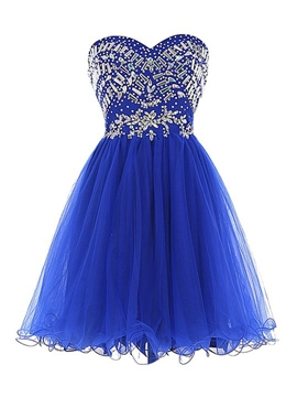 Ericdress a-ligne Sweetheart perles ruché Homecoming robe