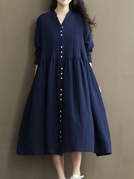 Ericdress V-Neck Single-Breasted Pleated Patchwork Casual Dress