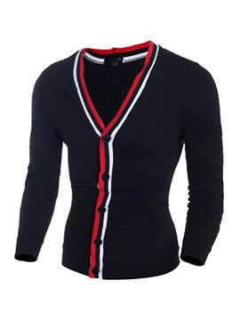 Ericdress Color Block Edge V-Neck Men's Sweater