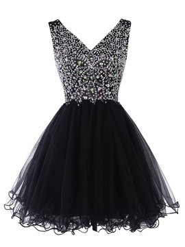 Ericdress V-Neck Beading Ruched Homecoming Dress
